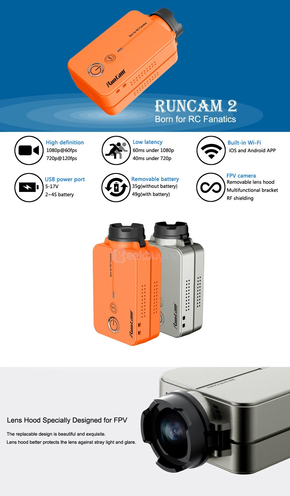 RunCam 2 RunCam2 1080P HD 120 Degree 4MP Wide Angle WiFi FPV Camera- Orange