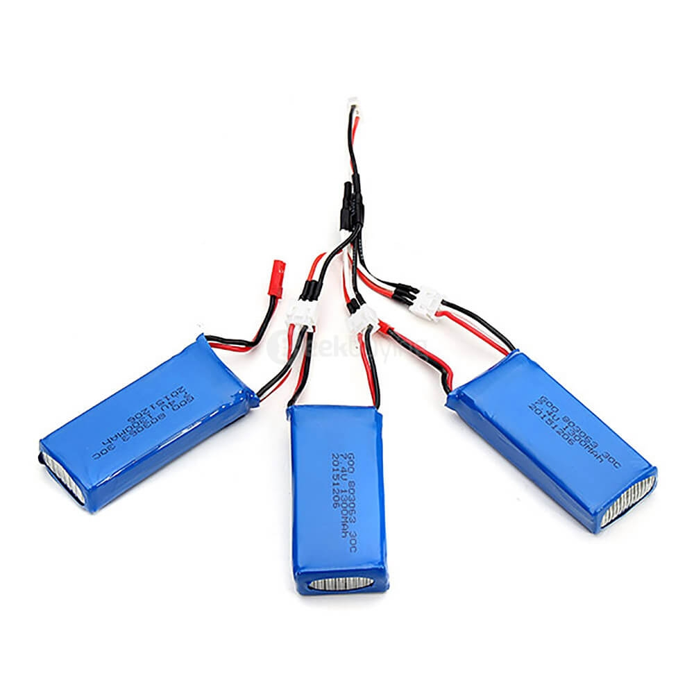3*7.4V 1300mAh 25C Upgrade Battery & 1 to 3 Charging Cable for MJX X101 RC Quadcopter