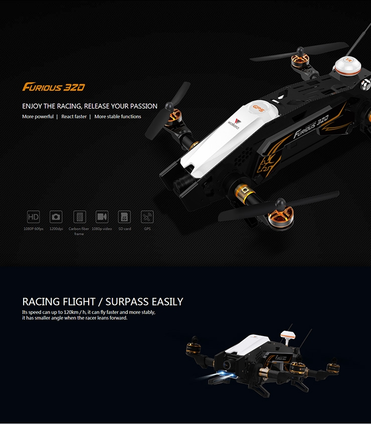 Walkera Furious 320 1080P HD Camera 5.8G RC Quadcopter with DEVO 10 Transmitter OSD RTF