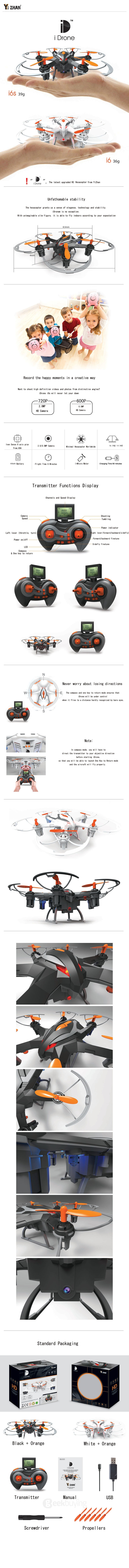 YiZhan i6s 2MP Camera 2.4G 4CH 6Axis One Key Return Nano Hexacopter RTF - White