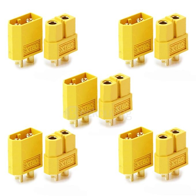 Amass XT60 Male Female Bullet Connector Plugs For RC LiPo Battery - Yellow