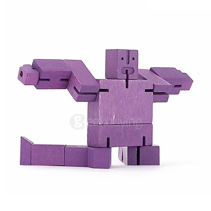 Worshipper Robot Wood Cube Puzzle Magic Cube Wooden Folding Educational Toy - Purple