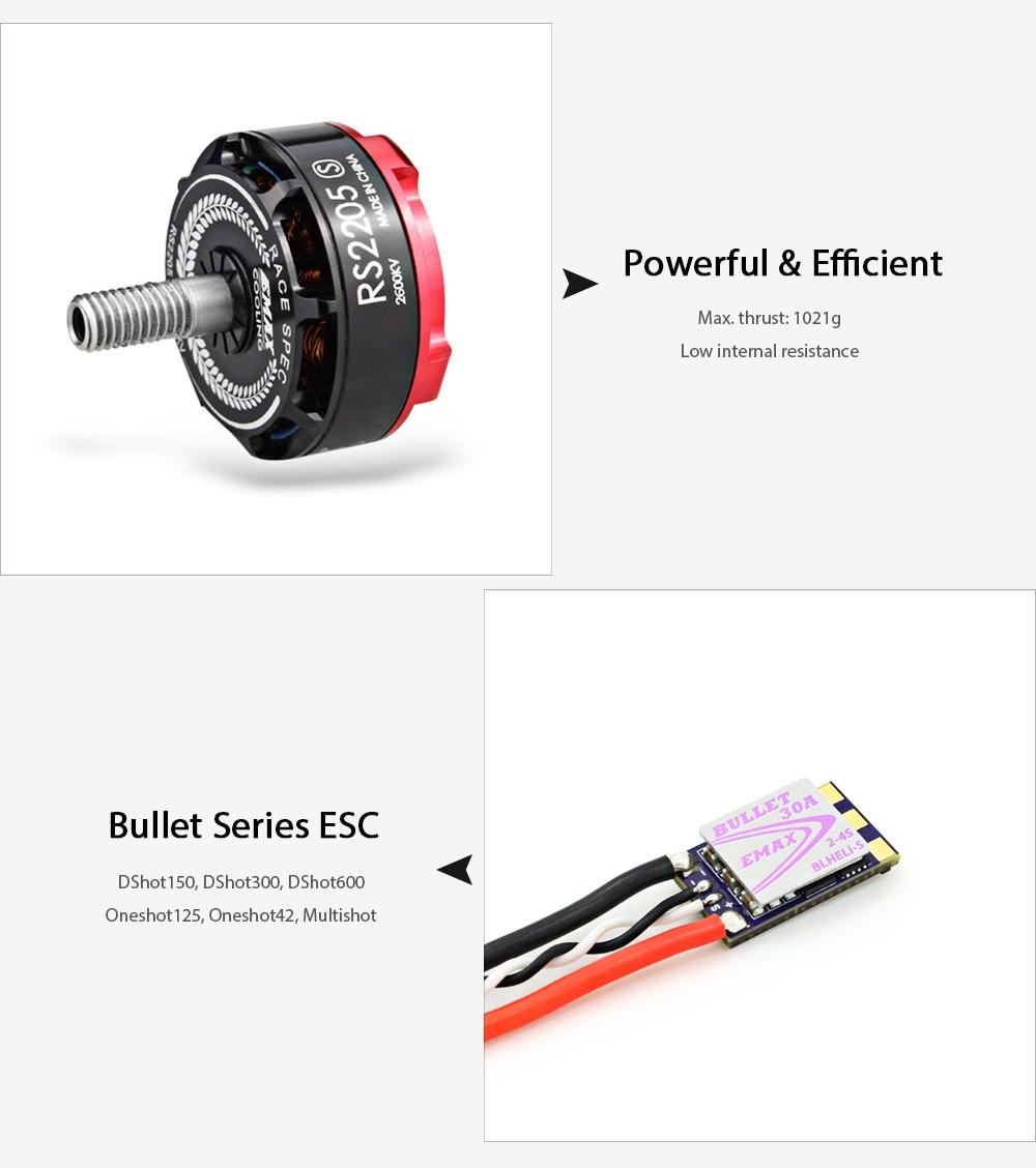 Emax rs2205 s 2600kv brushless motor esc combo price for 50 kg thrust brushless motor