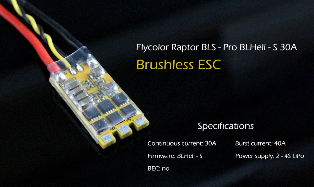Flycolor Raptor BLS Pro BLHeli_S 30A 2-4S DSHOT Brushless ESC for RC multicopter FPV Racing