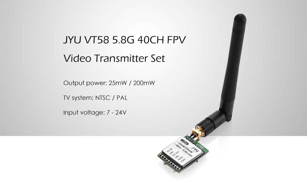 JYU VT58 5.8G 40CH FPV Video Transmitter Set