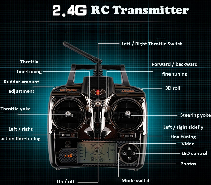 Remote Controller 2.4G RC Transmitter for Wltoys V666 / V666N / V915 / V222 / V913 Quadcopter