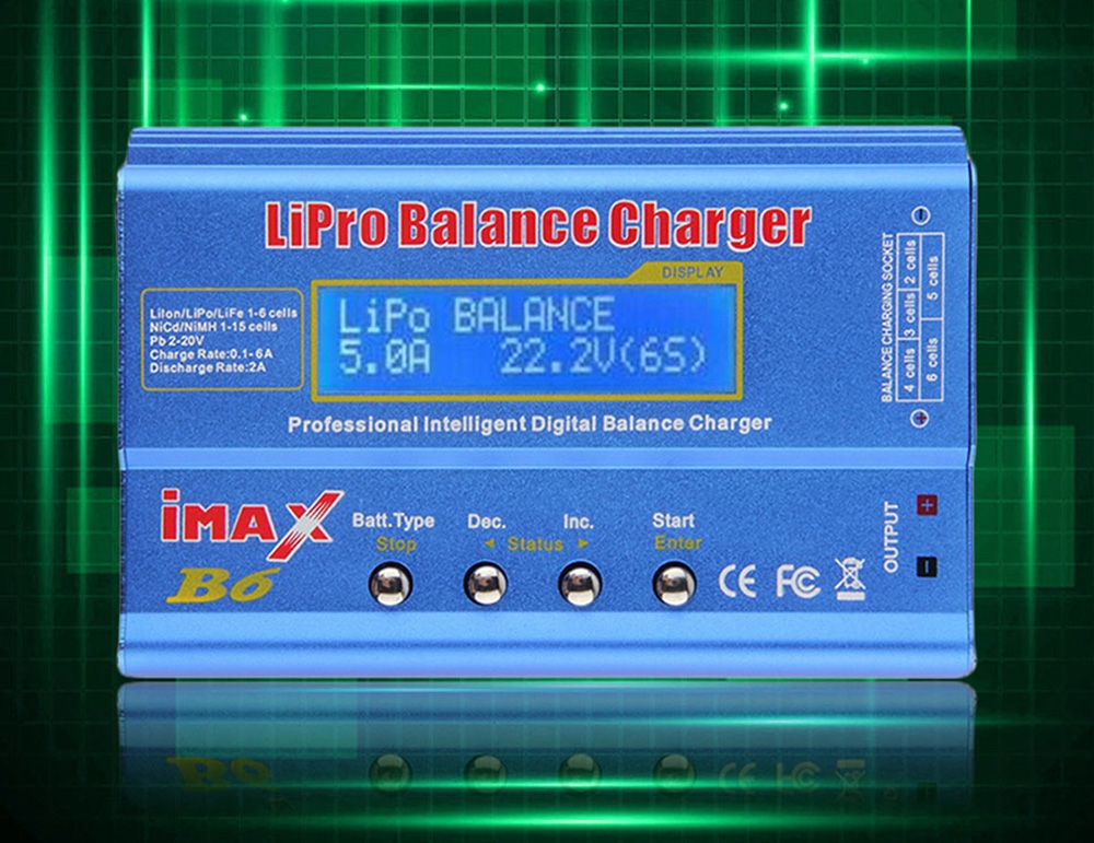 Genuine IMax B6 Style LCD Digital RC Lipo NiMh 2S - 6S Battery Balance Charger + Cord