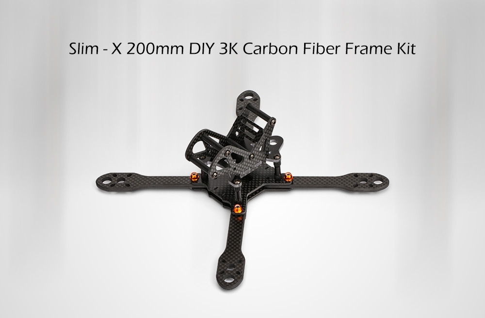 Slim-X 200 200mm X Tpye 3K Carbon Fiber DIY Frame Kit with 4mm Plate for Racing Drone