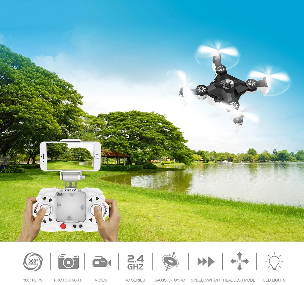 FQ - 777 FQ11W 2.4GHz Transmitter / APP Control WiFi FPV 0.3MP 4 Channel 6-axis-gyro Mini RC Quadcopter