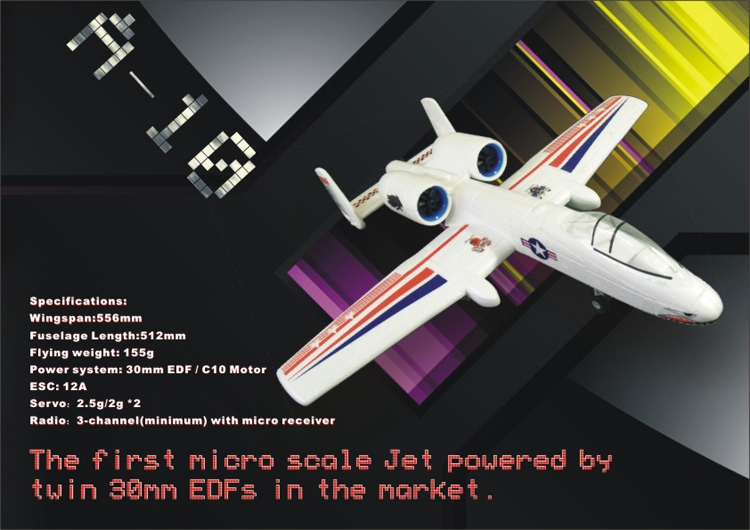 ELE A-10 A10 556mm Wingspan EPO Micro Airplane Pusher Jet