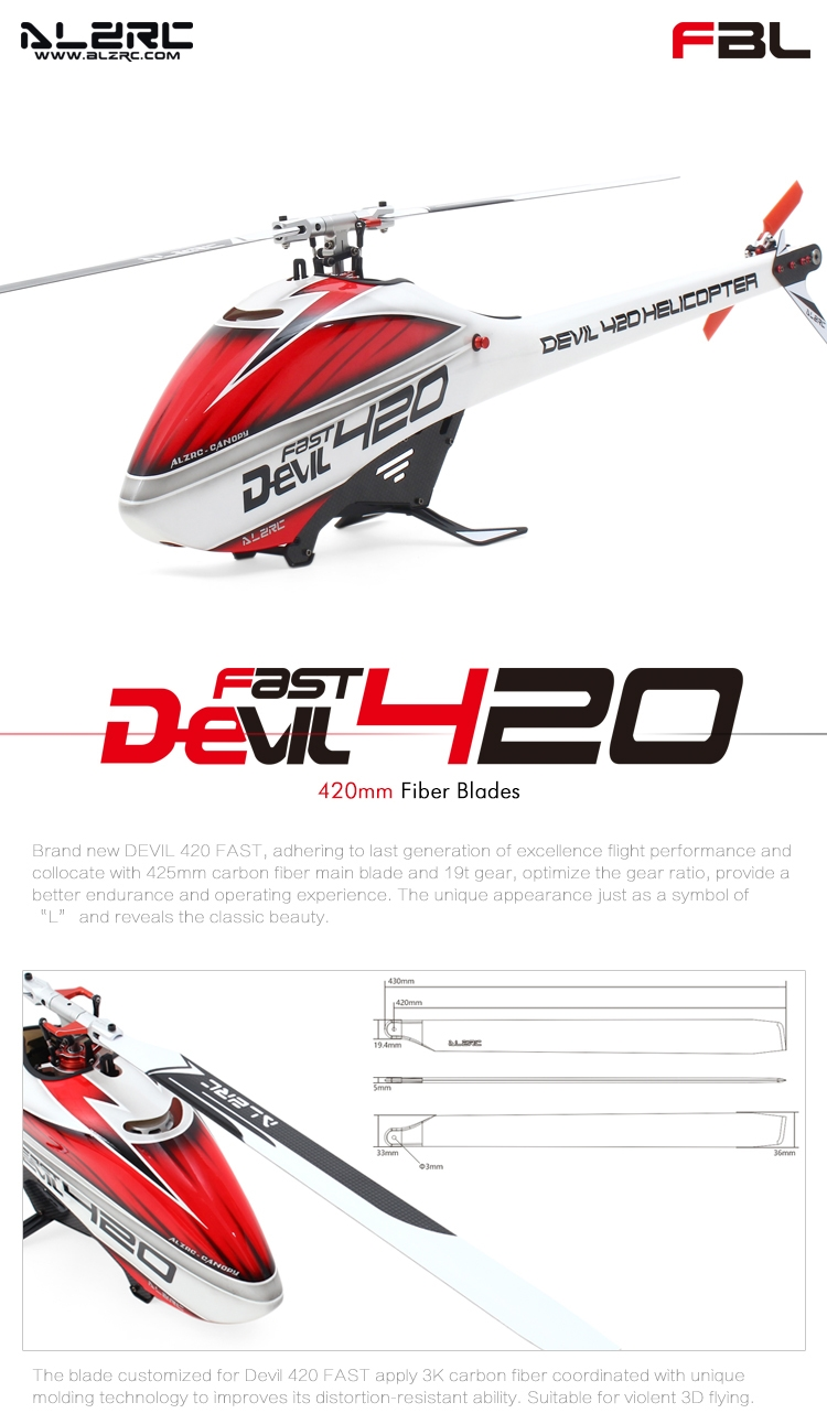 ALZRC Devil 420 Fast FBL RC Helicopter Standard Combo