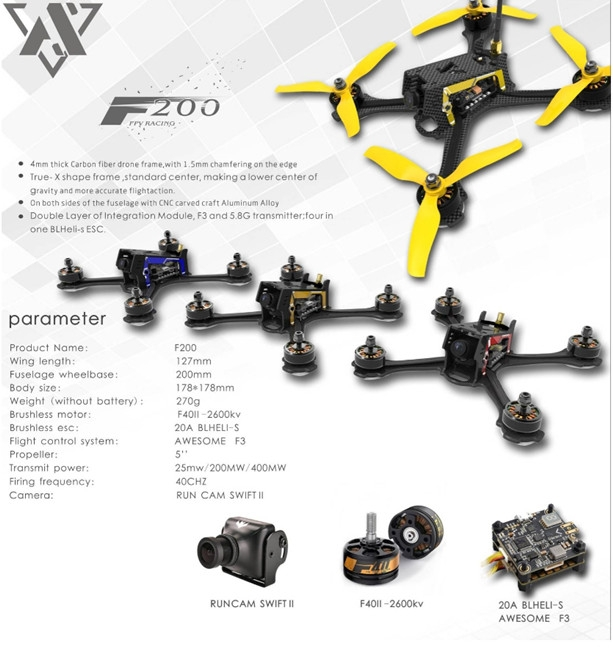 Awesome F200 200mm High-end Version FPV Racing Drone w/ F3 20A Blheli_S 5.8G 40CH VTX PNP