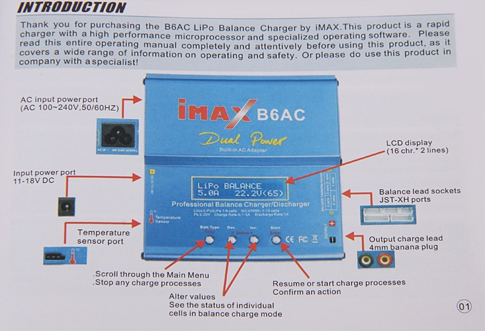 IMax B6 LCD Digital RC Lipo NiMh Battery Balance Charger + EU AC Power Adapter Cord