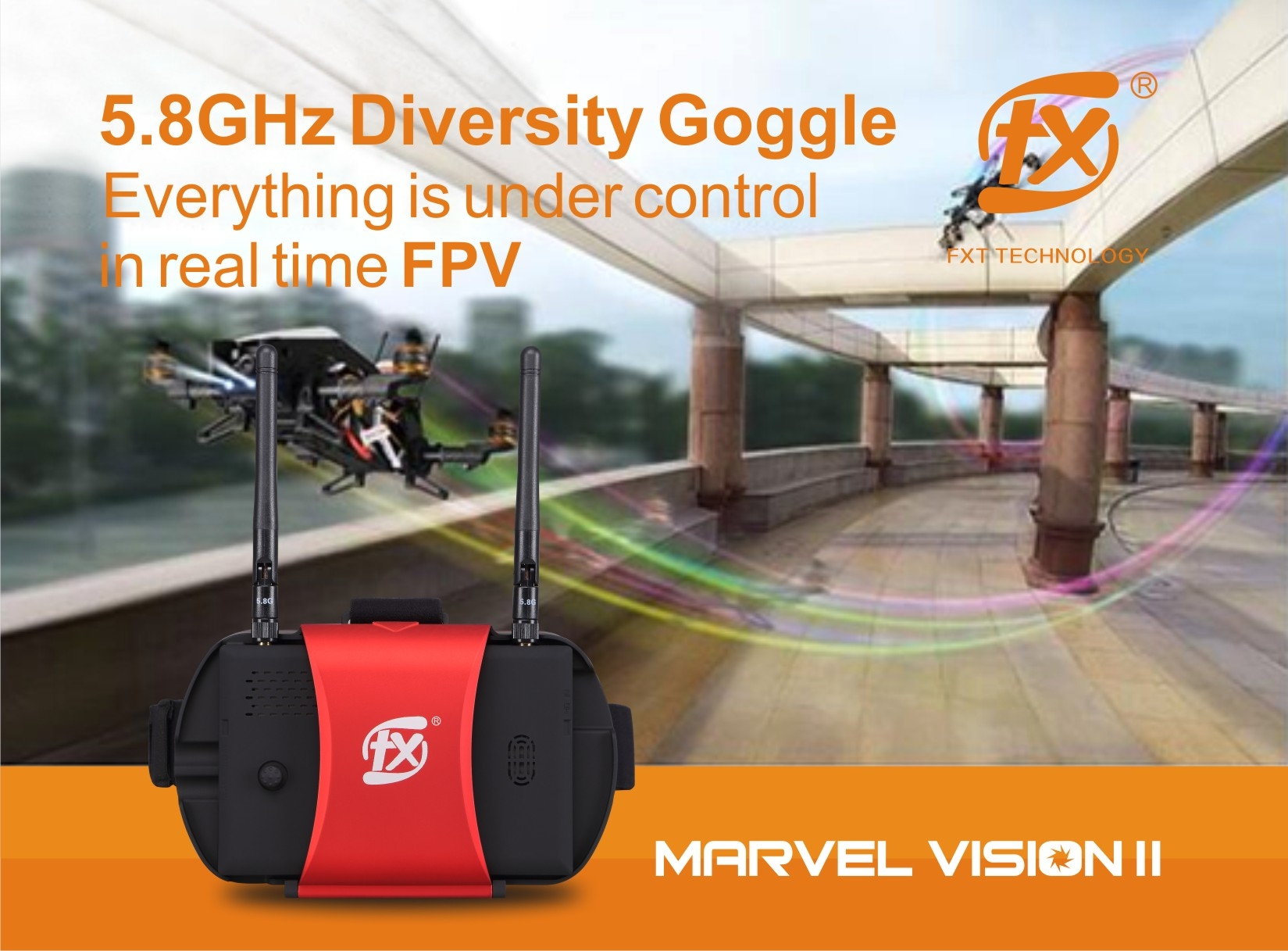 FXT Version II 5 Inch 800*480 40CH 5.8G Diversity FPV Goggle HDMI Build-in DVR
