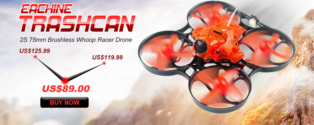 Eachine TRASHCAN 75mm Crazybee F4 PRO OSD 2S Whoop FPV Racing Drone Caddx Eos2 Adjustable Camera 25/200mW VTX - Durable