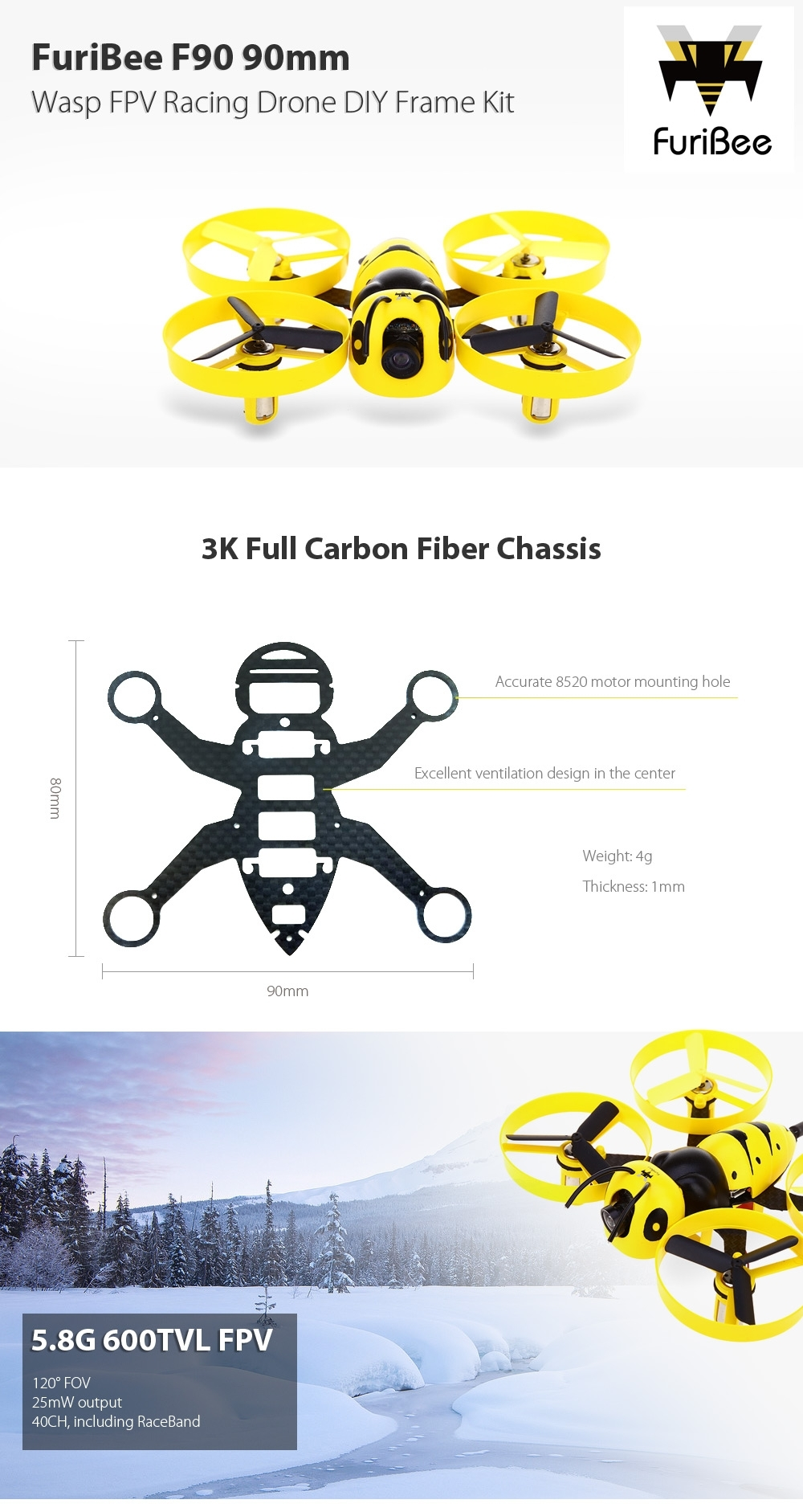FuriBee F90 90mm Wasp FPV Racing Drone DIY Frame Kit 5.8G 600TVL / F3 Brushed FC / FrSky XM 16CH Receiver